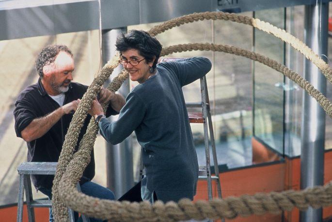 Tony Kearney and Kay Lawrence. installing the Plant Fibre Ellipse